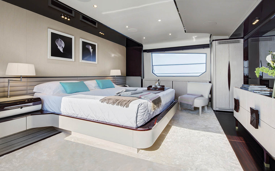 One of the largest owner's suite in a 95 footer